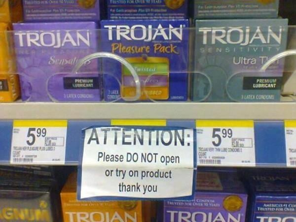 Really?  Do not try on condoms in stores...